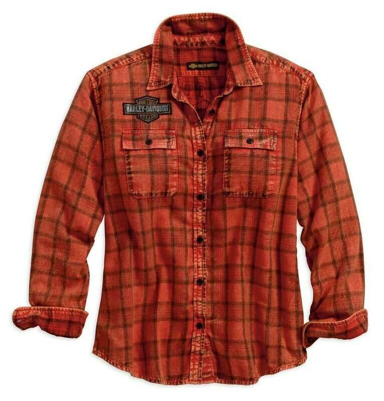 Chemise en Flanelle à manches longues pour Femme Harley-Davidson® Tartran  et écusson Bar & Shield 96270-18VW