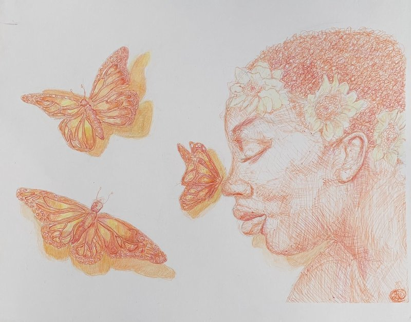 Flutter | 2018 | Ink/Coloured Pencil| PRINT | 8 x 10