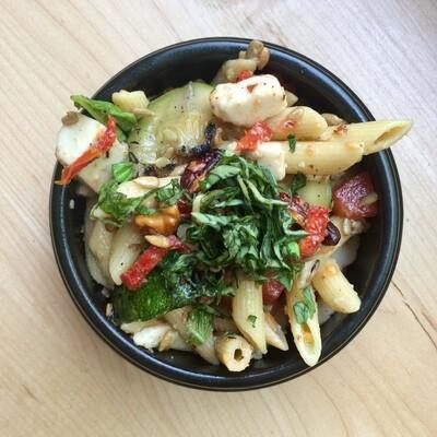 Caprese Pasta Salad: Cashew Mozzarella, Tomato, Basil, Zucchini, Walnuts