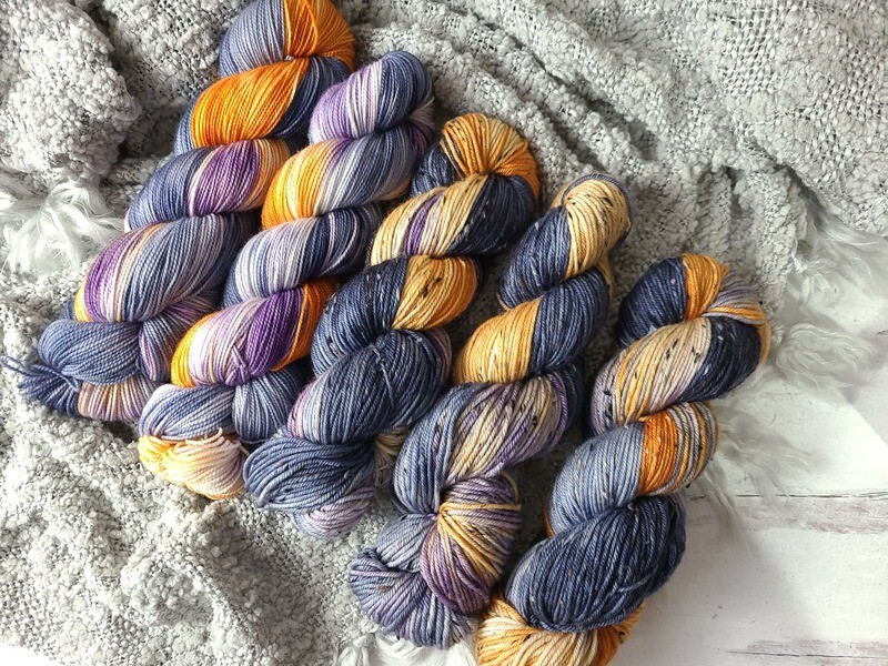 Midnight Flight (Sock and DK Tweed) Hand Dyed Yarn Ready to Ship