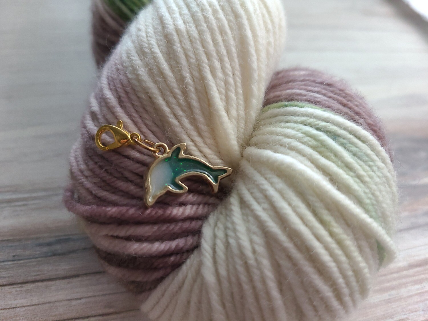 Teal and Cream Dolphin Stitch Marker