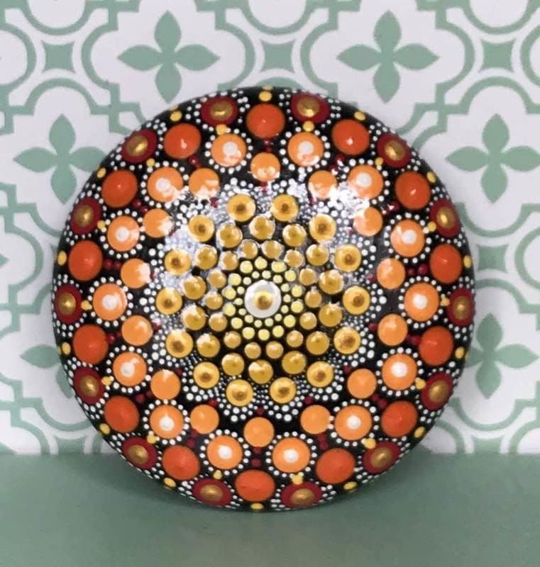 Mandala art round wood pebble home decor spring garden