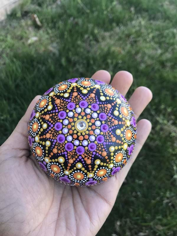 Purple Star Dot Mandala Handmade rock home decor unique gift