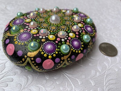 Bead Studded Stunning Large Mandala Rock