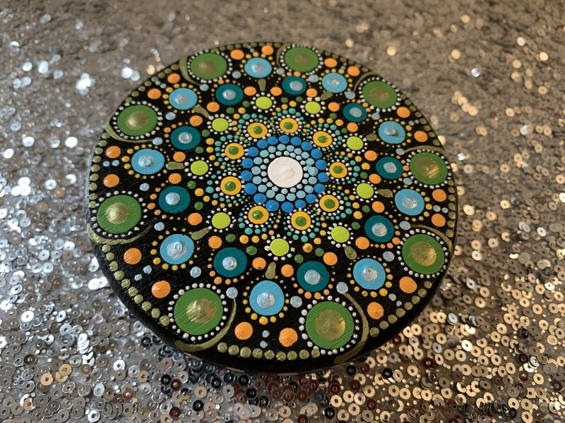 Dot Mandala Wood Stand Table Small