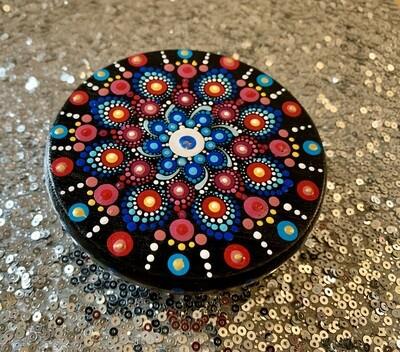 Red and Blue Dot Mandala Stand Table Small