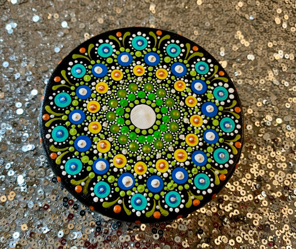 Dot Mandala Wood Stand Table Small