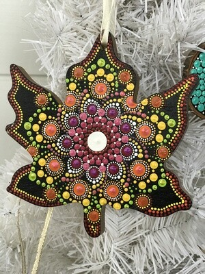 Dot Mandala Maple Leaf Christmas Ornament Wall Decor