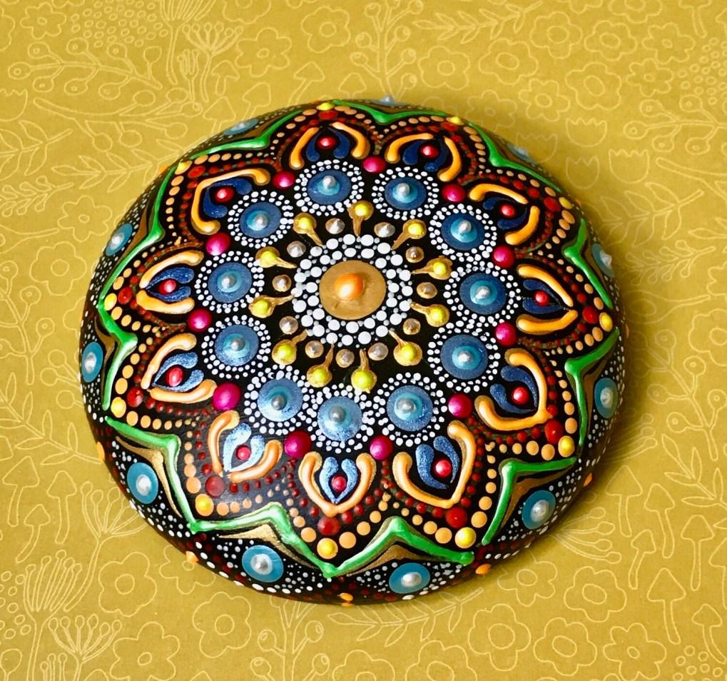 Large multicolored mandala rock