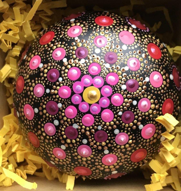 Dot Mandala Shades of Red Stone