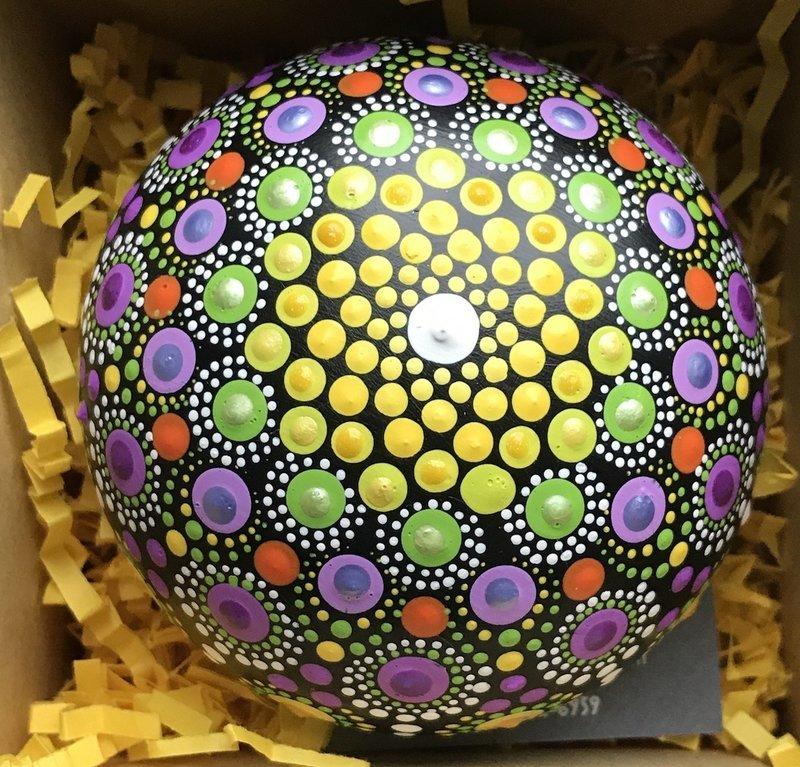 Mandala Yellow Purple Rock Art Mindfulness Meditation Home Decor