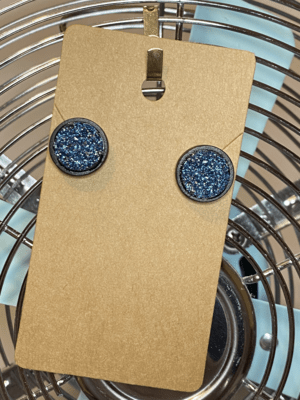 Black Wood stud with blue and pink druzy