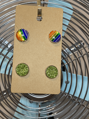 Rainbow stud and green druzy stud set