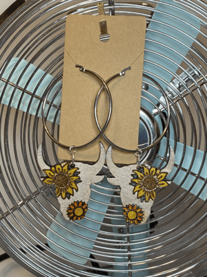 Large Silver-Toned Hoops with Sunflower Steer