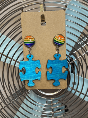 Blue Puzzle Piece with Rainbow Studs