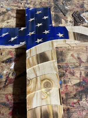 Large Wavy American Cross