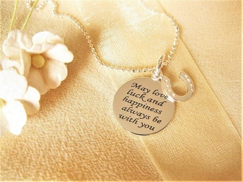Love Luck Happiness necklace + horseshoe