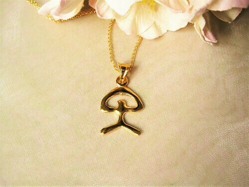 Indalo Man necklace for wellness and luck ~ gold-filled, modern