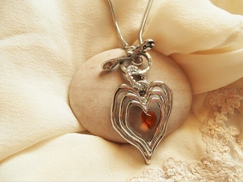 Layers of love heart necklace + birthstone crystal