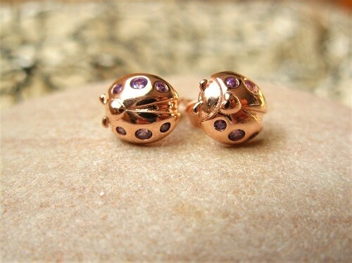 Lucky ladybird stud earrings ~ rose gold, for happiness