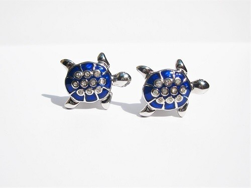 Lucky turtle cufflinks ~ blue, to say Relax, Take it Easy