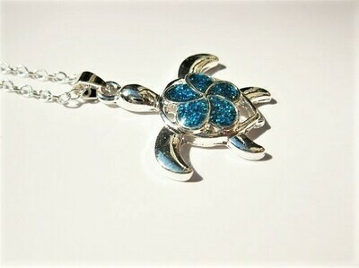 Lucky turtle necklace ~ blue opal, for peace and tranquility