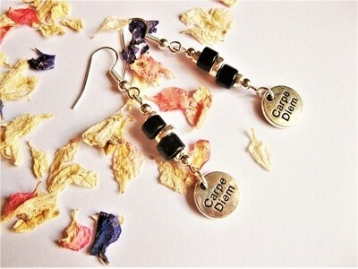 Carpe Diem charm earrings gift to say Don't Worry
