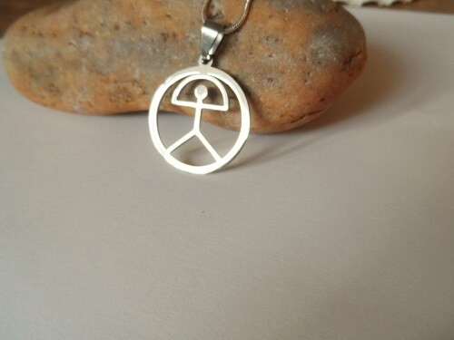 Indalo Man necklace ~ stainless steel circle