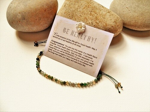 Health Band gift to wish Good Health ~ green stone