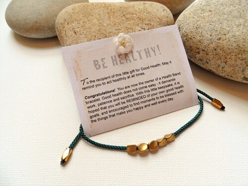 Health Bands - bracelet to wish Good Health ~ copper nuggets, Teal