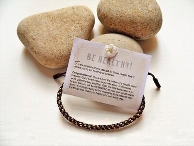 Health bracelet - Band to wish Good Health ~ Brown, gold flecks