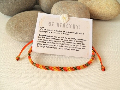 Health bracelet - Band to wish Good Health ~ Orange/Yellow/Green
