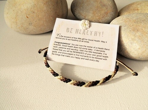 Health bracelet - Gift to wish Good Health ~ Brown/Black/White
