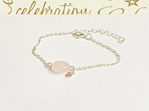 Rose quartz bracelet + CZ heart