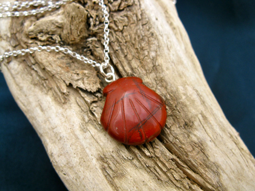 Camino journey necklace ~ red jasper scallop shell