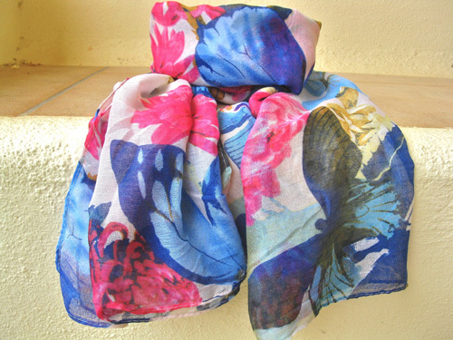 Butterfly scarf ~ passionate pink & blue