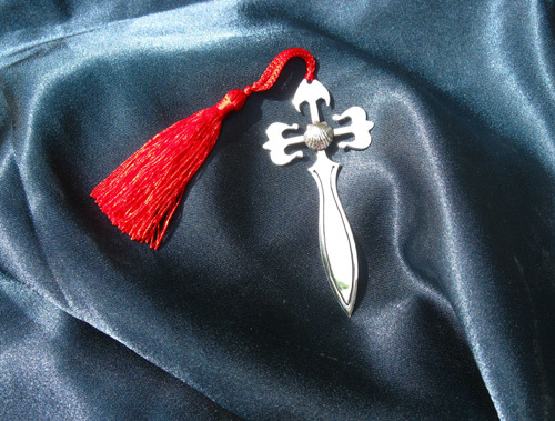 Solid silver St James Cross + Scallop bookmark