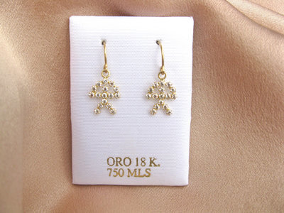 Lucky Indalo earrings ~ 18ct gold + zirconite