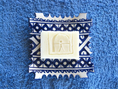 Handmade natural soap ~ Indalo, on ceramic dish