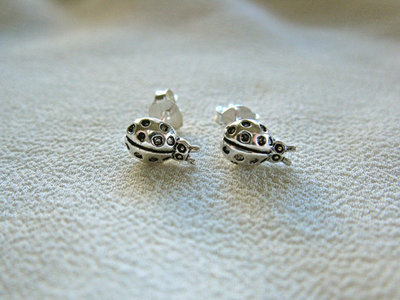 Sterling silver Ladybird stud earrings