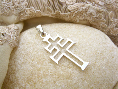 Caravaca cross necklace ~ modern, silver