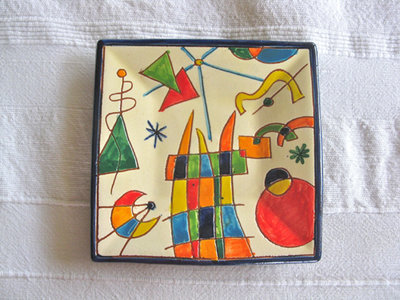 Spanish plate - happy days, square