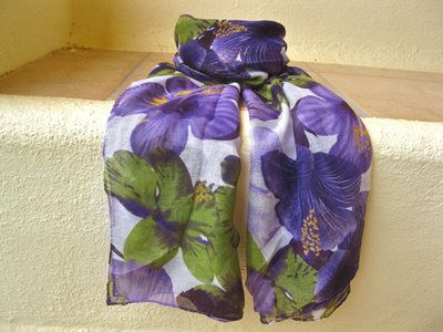 Lovely lily flower scarf ~ dark purple & green