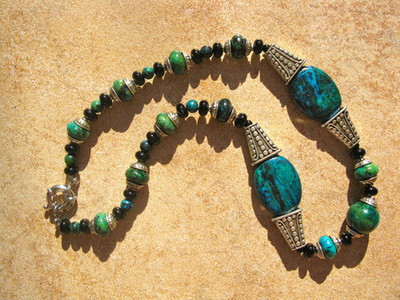 Black Agate and Phoenix Stone necklace