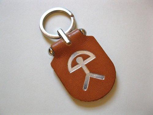 Indalo keyring  ~ Spanish leather, embossed