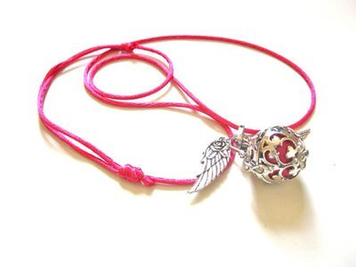 Angel  harmony ball pendant ~ fuchsia