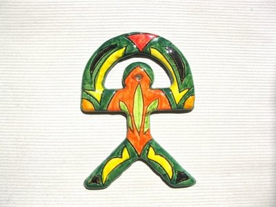 Spanish ceramic Indalo talisman ~ GREEN