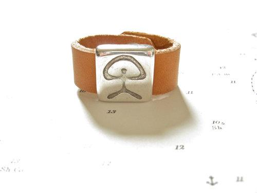 Indalo symbol ring - leather 13mm