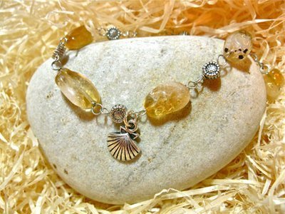 Scallop shell bracelet, citrine ~ ideal to wish safe travels