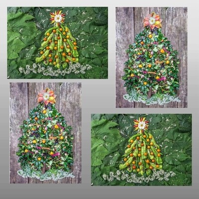 Greeting Cards: Celestial Vegetable Holiday Trees